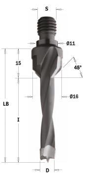 Drevelboor met verzinker HW D=10x30 S=M10/11 Rechts